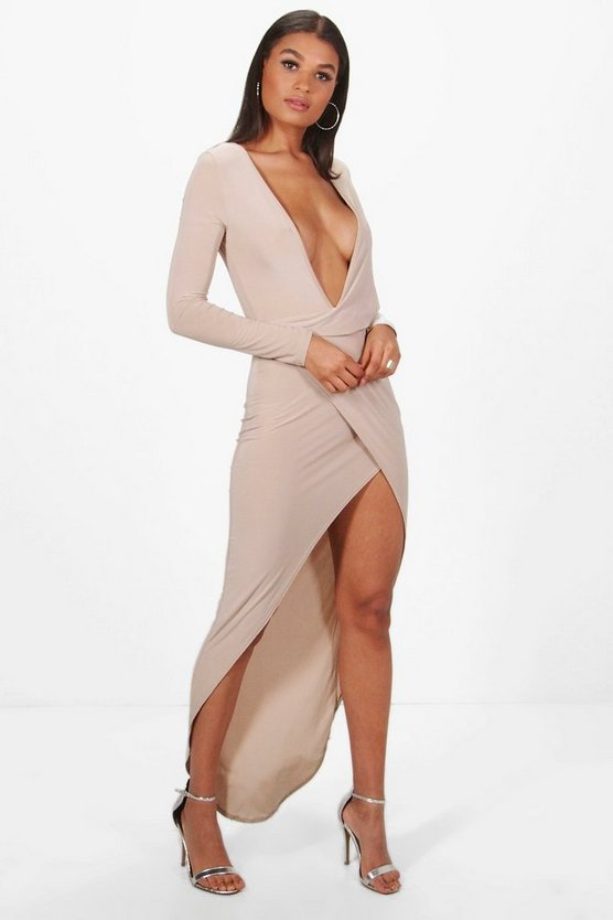 Hedda Deep Plunge Drape Slinky Maxi Dress