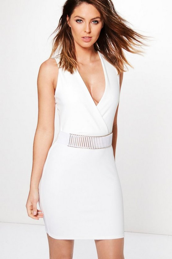 Kat Belt Trim Wrap Bodycon Dress