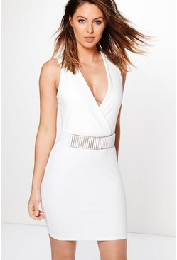 Womens Ivory Kat Belt Trim Wrap Bodycon Dress