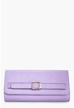Womens Lilac Amber Buckle Detail Clutch Bag