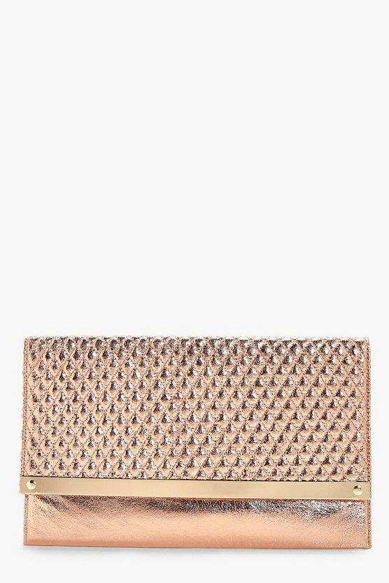 Womens Rose gold Quilted Metal Bar Clutch Bag