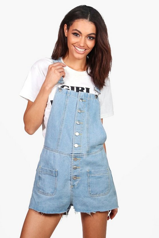 Lucy Button Through Denim Playsuit