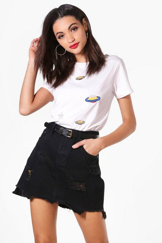 Black Ripped Hem Denim Mini Skirt