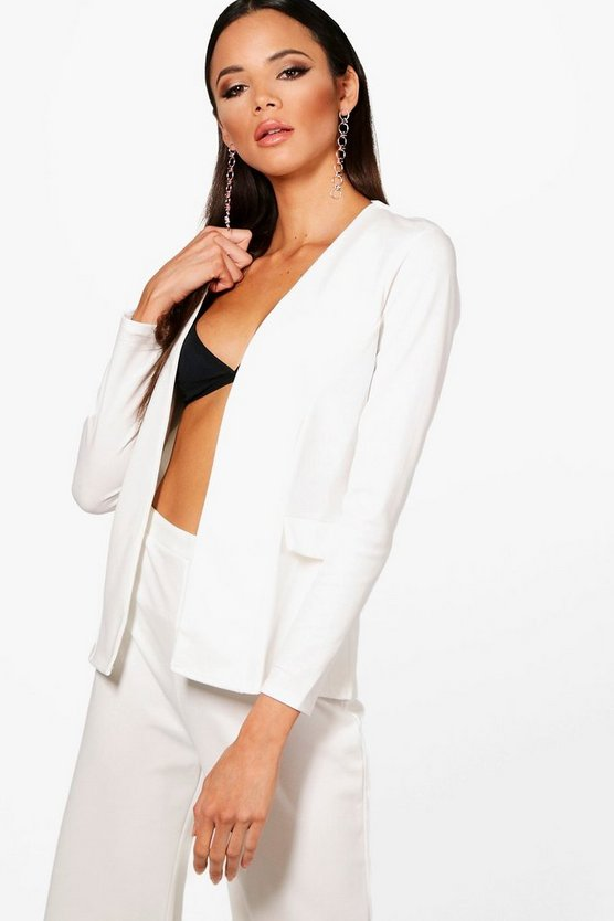 Womens Ivory Collarless Blazer
