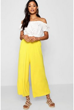 Womens Bright yellow Basic Jersey Wide Leg Culottes