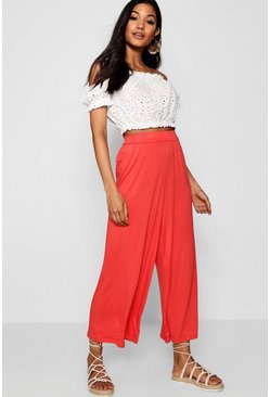 Womens Tropical orange Basic Jersey Wide Leg Culottes