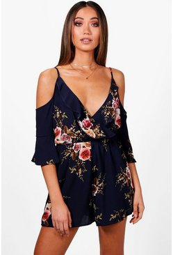 Womens Navy Floral Open Shoulder Playsuit