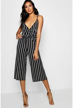 Womens Black Striped Culotte Strappy Jumpsuit