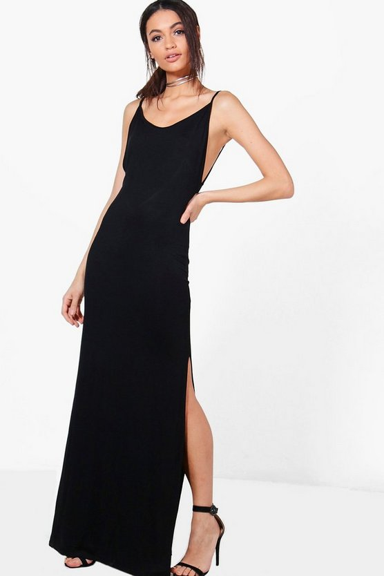 Reem Low Scoop Back Strappy Maxi Dress