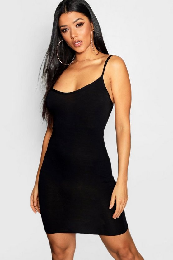 Womens Black Basic Strappy Cami Bodycon Dress