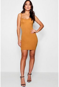 Womens Mustard Basic Strappy Cami Bodycon Dress