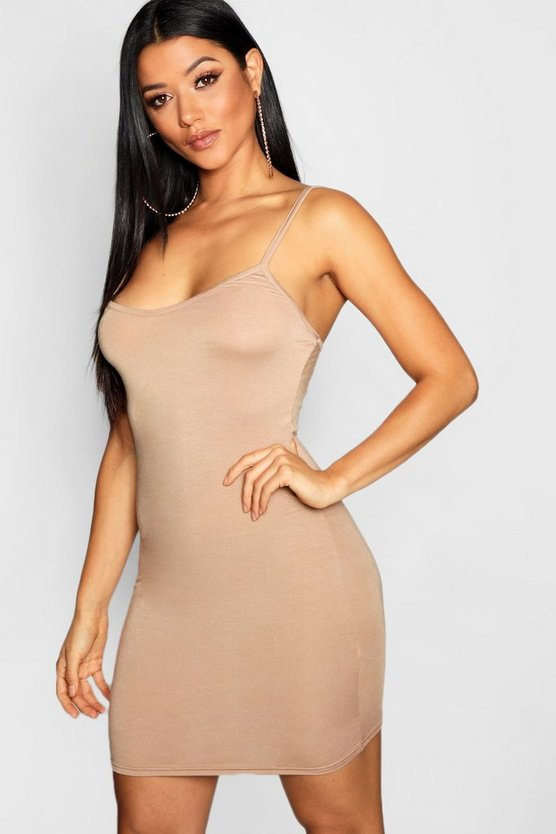 Sand Basic Strappy Cami Bodycon Dress