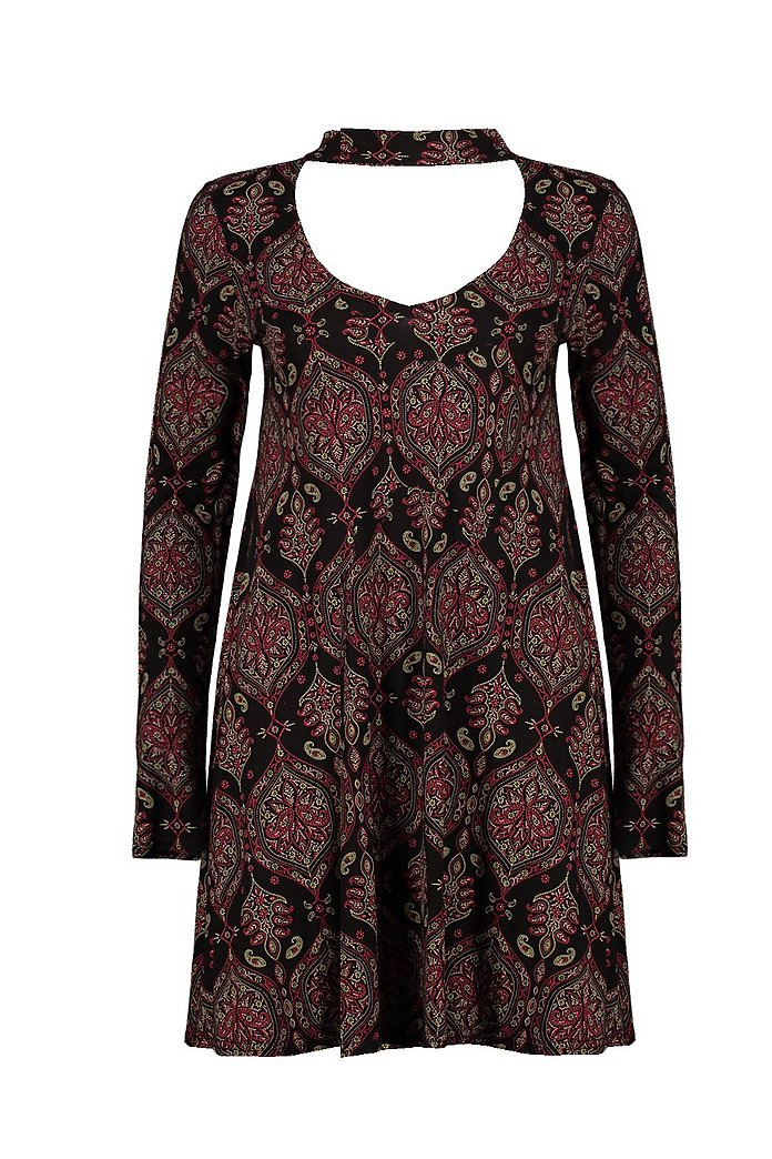 41035a6c03b3 Rhea Paisley Choker Swing Dress | Boohoo