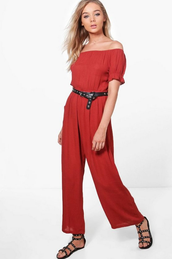 Annie Off The Shoulder Cheesecloth Jumpsuit