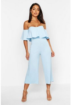 Baby blue Off The Shoulder Ruffle Culotte Jumpsuit
