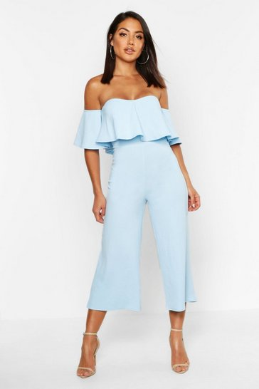 Womens Baby blue Off The Shoulder Ruffle Culotte Jumpsuit