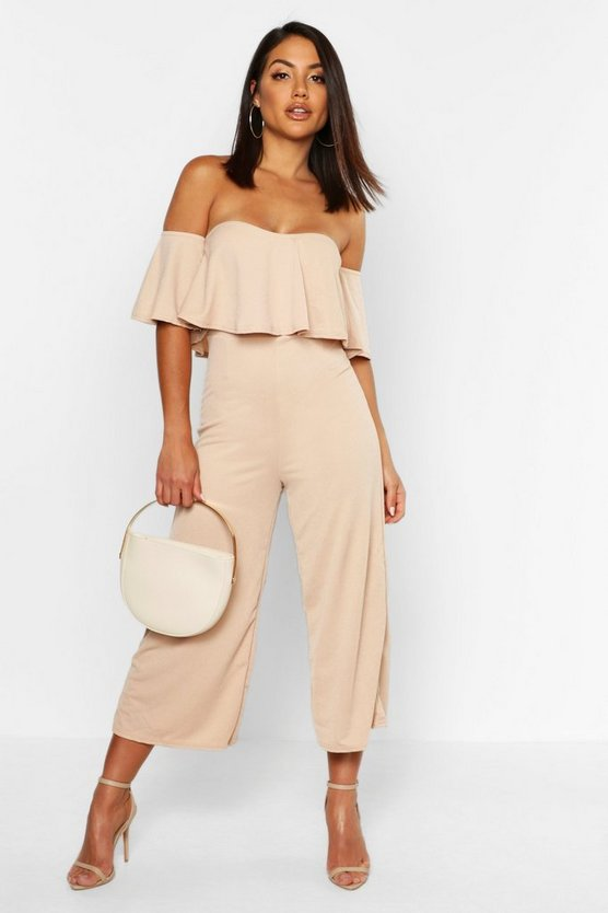 Womens Beige Off The Shoulder Ruffle Culotte Jumpsuit