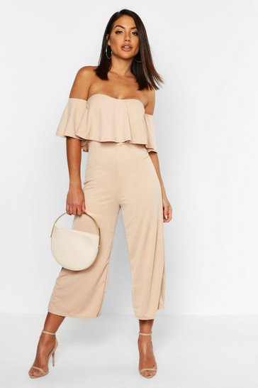 Beige Off The Shoulder Ruffle Culotte Jumpsuit