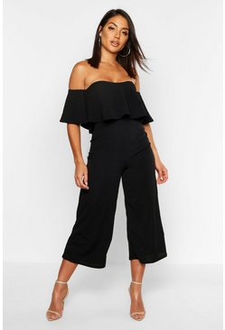 Womens Black Off The Shoulder Ruffle Culotte Jumpsuit
