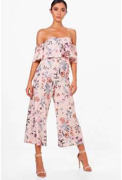 Womens Multi Floral Print Off Shoulder Culotte Jumpsuit