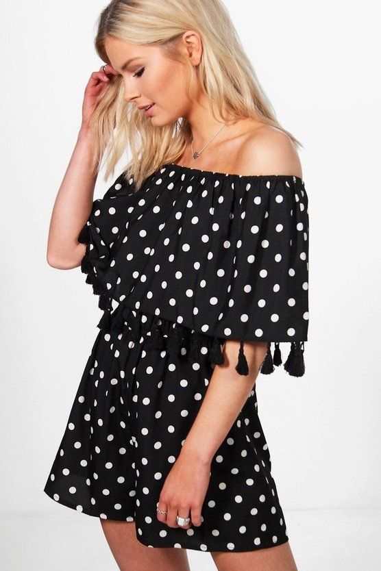 Jade Polka Dot Off Shoulder Tassel Playsuit