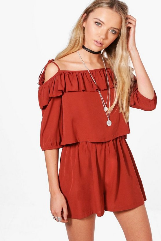 Evie Ruffle Open Shoulder Playsuit