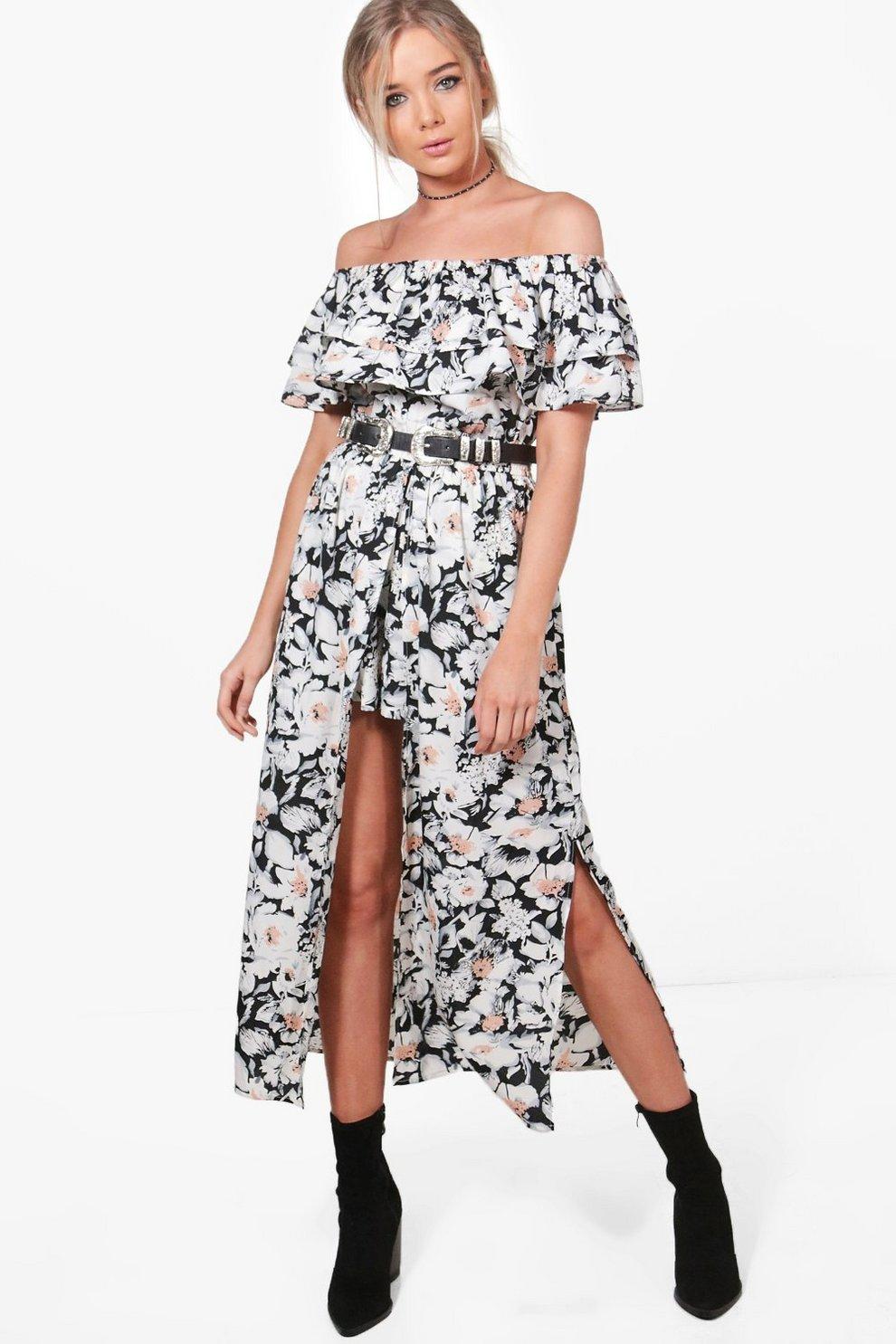 d5249ba08fe Womens Multi Floral Prinit Maxi Overlay Playsuit