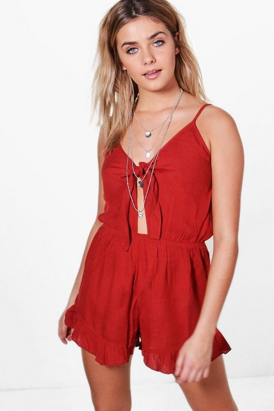 Tie Front Strappy Playsuit