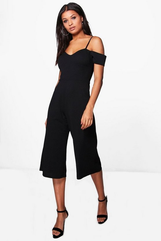 Black Off The Shoulder Culotte Jumpsuit