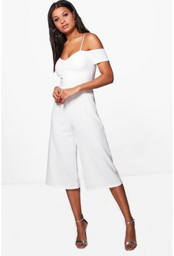 Womens Ivory Off The Shoulder Culotte Jumpsuit