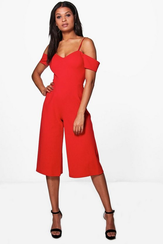 Womens Poppy Off The Shoulder Culotte Jumpsuit