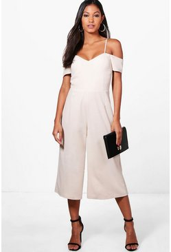 Womens Stone Off The Shoulder Culotte Jumpsuit