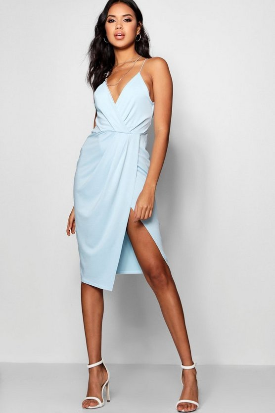 Womens Blue Strappy Wrap Detail Midi Dress