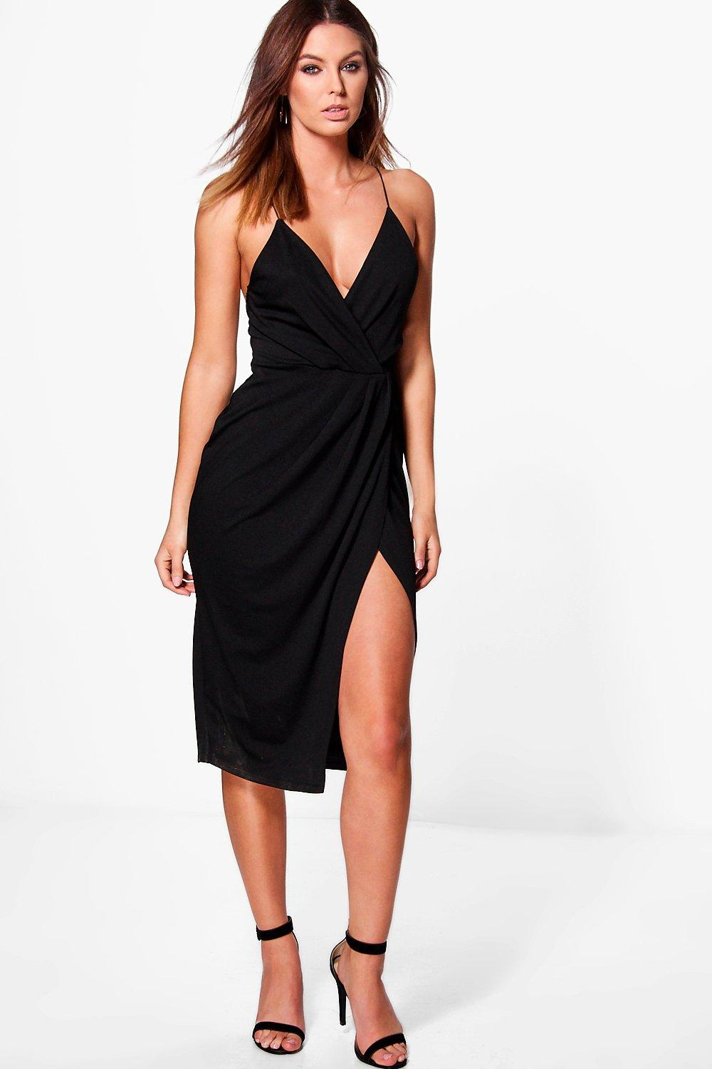 751d77ee511d Diane Strappy Wrap Detail Midi Dress | Boohoo