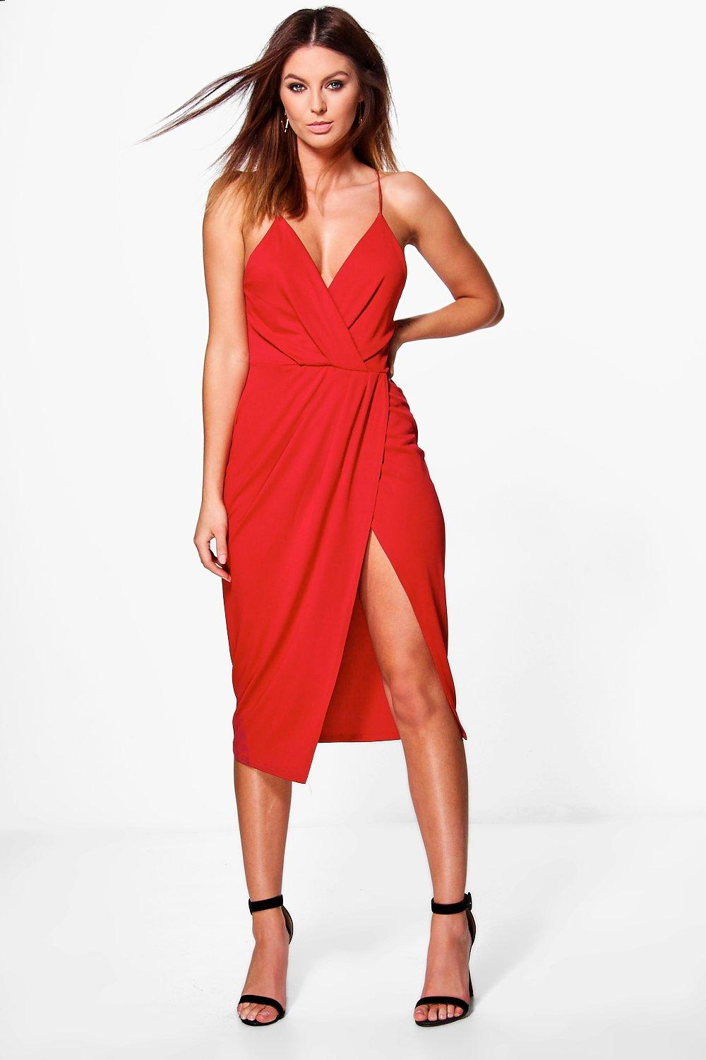 72c9153dbd2d Womens Red Diane Strappy Wrap Detail Midi Dress. Hover to zoom