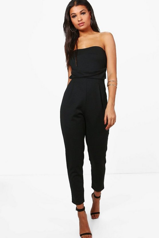 Womens Black Bandeau Tailored Woven Slim Fit Jumpsuit
