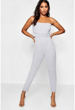 Womens Grey Bandeau Tailored Woven Slim Fit Jumpsuit