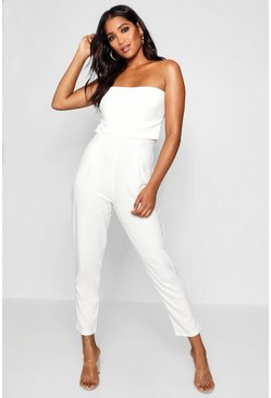 Womens Ivory Bandeau Tailored Woven Slim Fit Jumpsuit