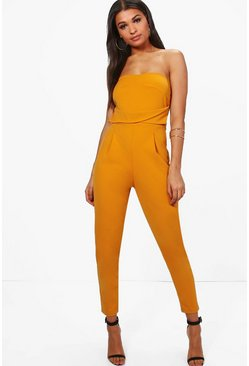 Womens Ochre Bandeau Tailored Woven Slim Fit Jumpsuit