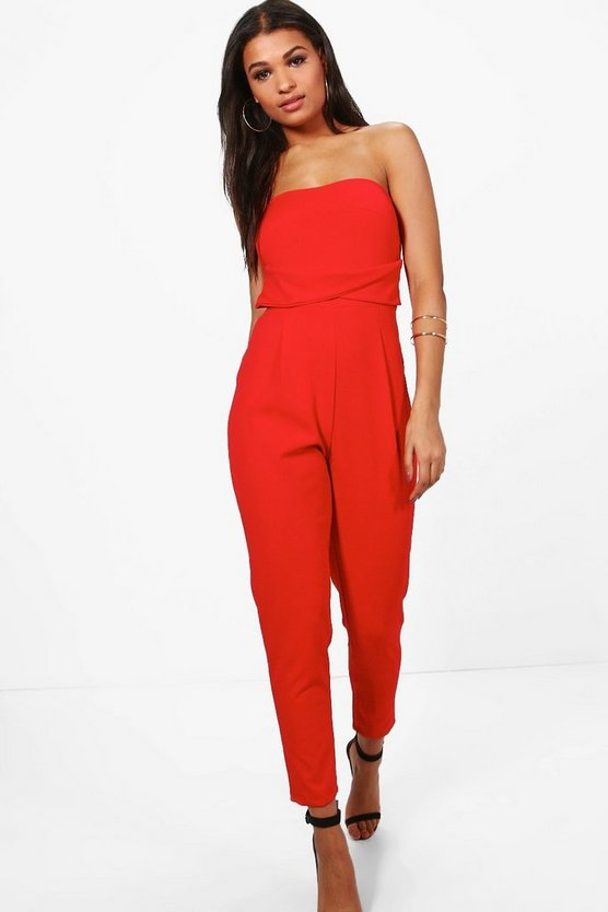 Womens Poppy Bandeau Tailored Woven Slim Fit Jumpsuit