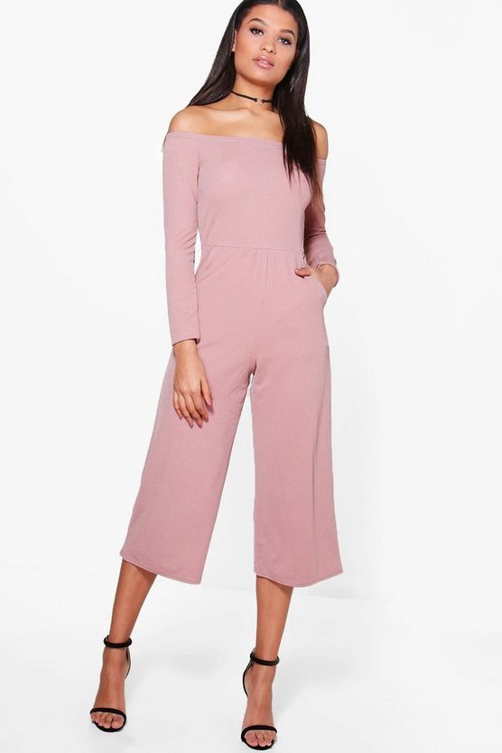 Bardot Long Sleeve Wide Leg Culotte Jumpsuit