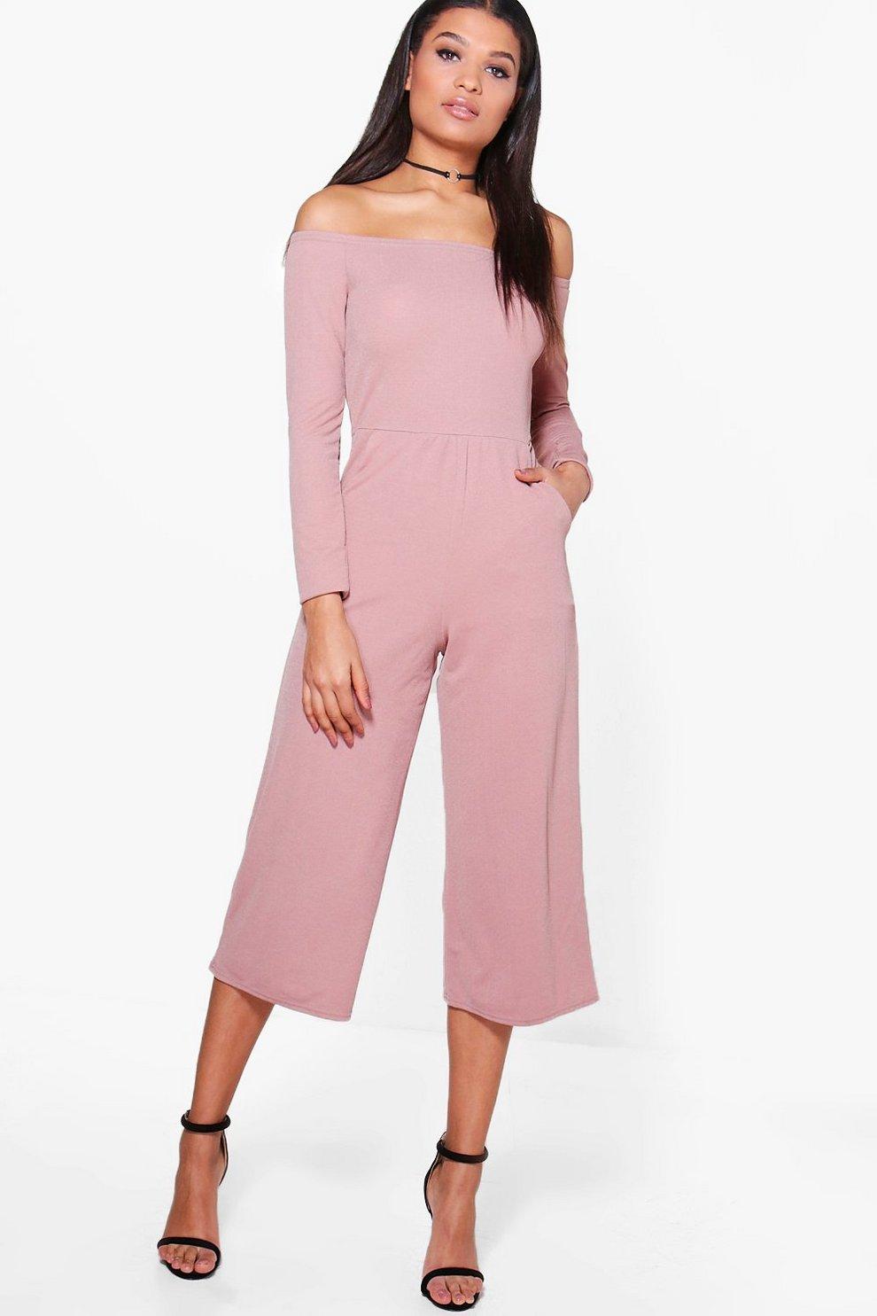 5061a2d14fd Bardot Long Sleeve Wide Leg Culotte Jumpsuit