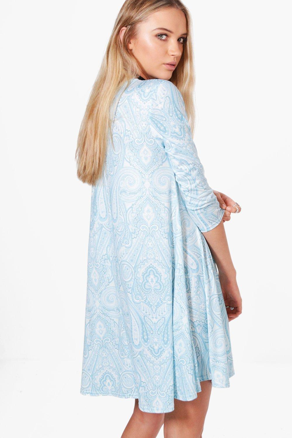 Boohoo-Coral-Paisley-3-4-Sleeve-Swing-Dress-pour-Femme