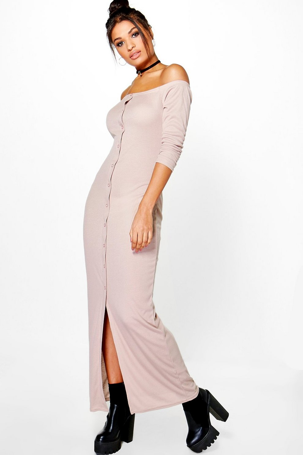 ab2eee7aa295 Penny Rib Button Off Shoulder Maxi Dress