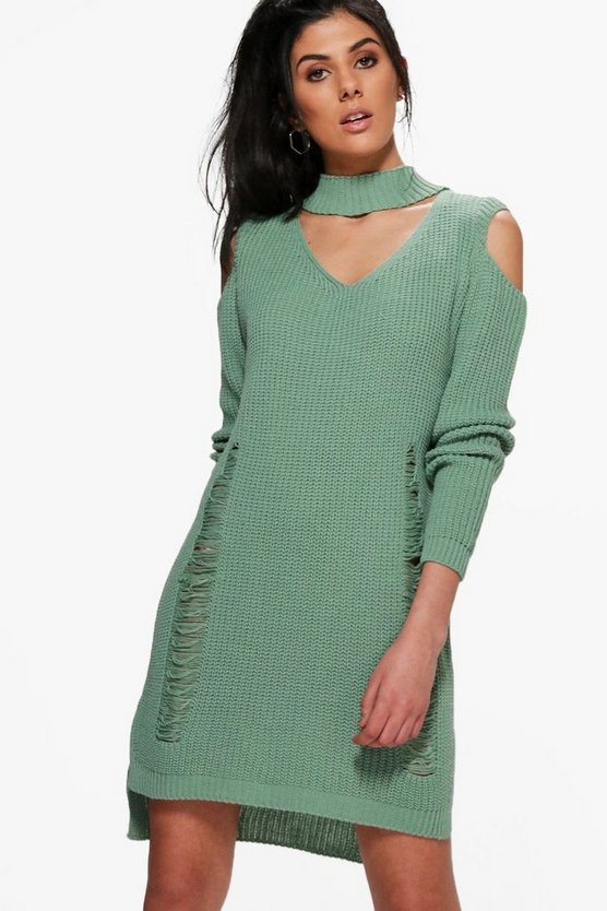 Beth Choker Distressed Cold Shoulder Jumper Dress