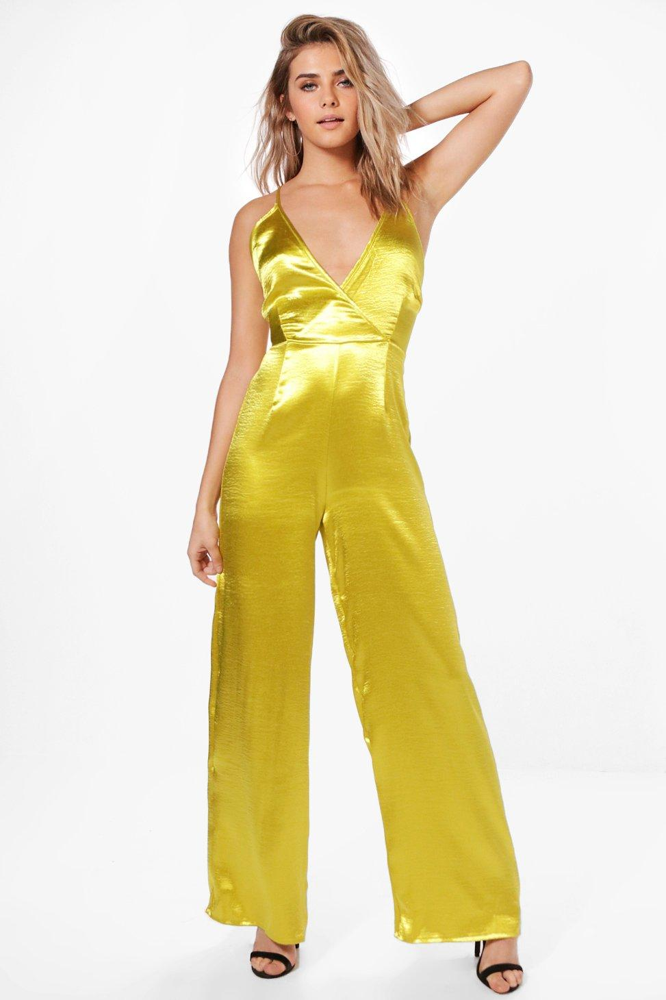 Sally Satin Wrap Front Strappy Jumpsuit