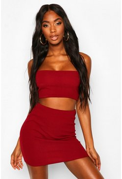 Womens Berry Strappy Crop & Mini Skirt Co-ord Set