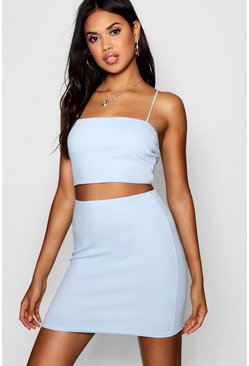 Womens Blue Strappy Crop & Mini Skirt Co-ord Set