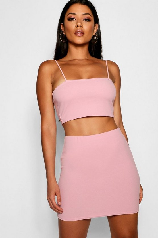 Womens Blush Strappy Crop & Mini Skirt Co-ord Set