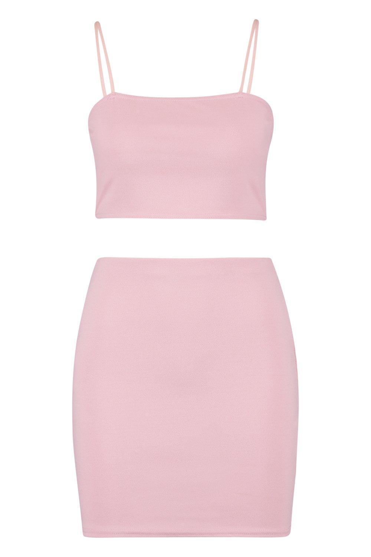 con de corto top blush Conjunto minifalda y tirantes CqwdXx